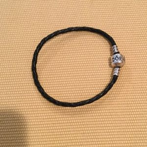 Pandora Black Leather Braided Bracelet 7""